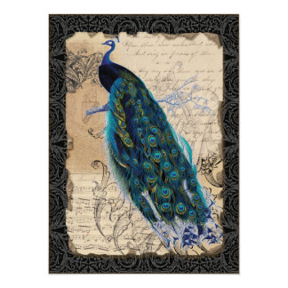 Ancient Peacock Bridal Shower Invite - Black