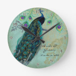 Ancient Peacock & Etchings Personalized Wedding Round Wall Clock