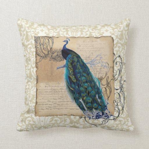 Modern Vintage Pillows : Ancient Peacock Modern Vintage Decoratve Decor Throw Pillows Zazzle