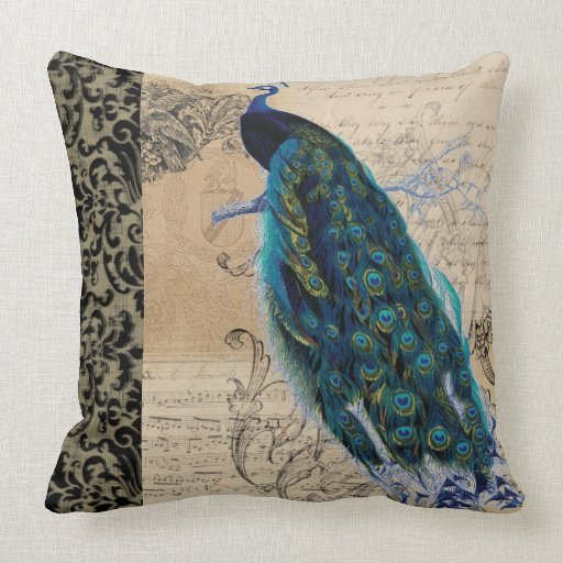 Ancient Peacock Modern Vintage Decoratve Decor Throw Pillow Zazzle