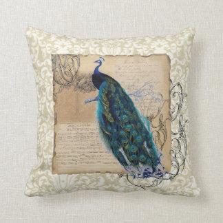 Ancient Peacock Modern Vintage Decoratve Decor Throw Pillow