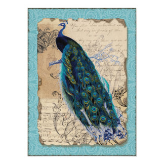 Ancient Peacock Save the Date Cards - Aqua Blue