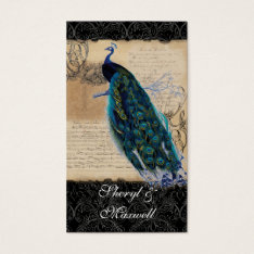 Ancient Peacock Vintage Wedding Reception Favors Business Card at Zazzle