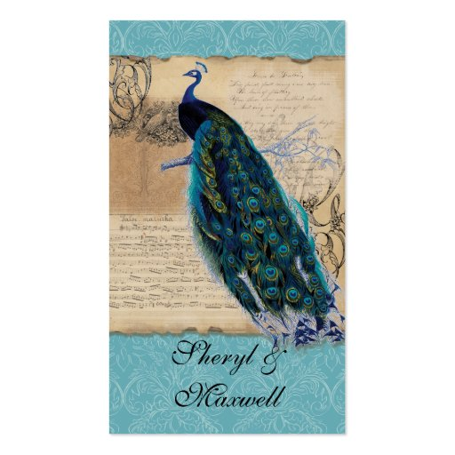 Ancient Peacock Vintage Wedding Reception Favors Business Card Templates