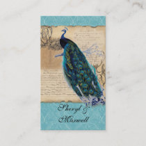Ancient Peacock Vintage Wedding Reception Favors Enclosure Card