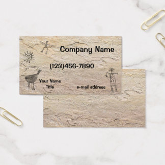 Ancient Petroglyphs Stone Background Business Card