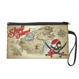 Ancient Pirate Skull Island Location Map Wristlet
