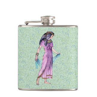 Ancient Pretty Egyptian Lady Princess in Purple Hip Flask