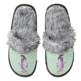 Ancient Pretty Egyptian Lady Princess in Purple Pair Of Fuzzy Slippers