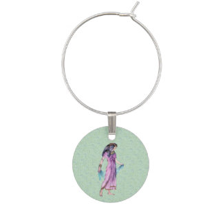 Ancient Pretty Egyptian Lady Princess in Purple Wine Glass Charms