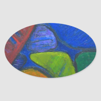 Ancient Protista Family (abstract expressionism) Oval Sticker