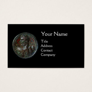ANCIENT ROMAN BRONZE MEDALLION MONOGRAM Black Business Card