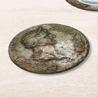 Ancient Roman Coin Round Paper Coaster