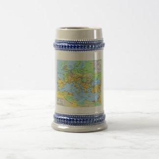 Ancient Roman Empire Map Decorative Drinking Stein 18 Oz Beer Stein