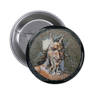 Ancient Roman Pan Mosaic Pinback Button