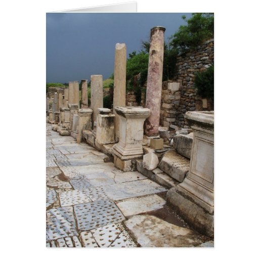 Ancient Roman road in the city of Ephesus, Turkey Greeting Card