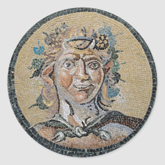 Ancient Roman Satyr Mosaic Classic Round Sticker