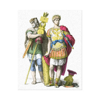 Ancient Roman Standard Bearer and General Stretched Canvas Print