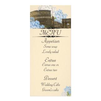 Ancient Rome Blue Hydrangea Menu Card