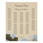 Ancient Rome Blue Hydrangea Seating Chart Posters