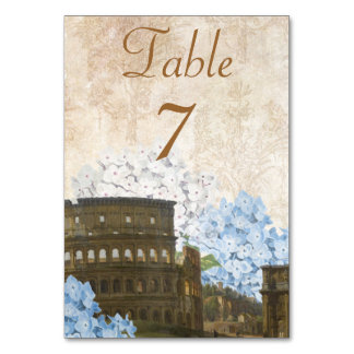 Ancient Rome Blue Hydrangea Table Number Card