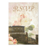 Ancient Rome Pink Rose Vintage RSVP Card Personalized Invitations