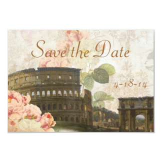 Ancient Rome Pink Rose Vintage Save the Date Card Personalized Invitation