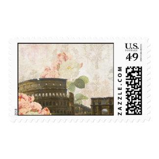 Ancient Rome Pink Rose Vintage Stamp
