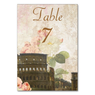Ancient Rome Pink Roses Table Number Card