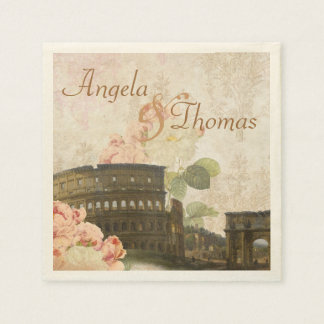 Ancient Rome Pink Roses Wedding Napkins