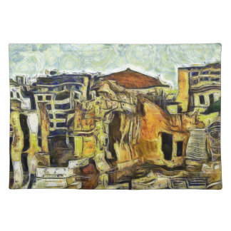 Ancient Ruins in Old Athens Greece Cloth Placemat