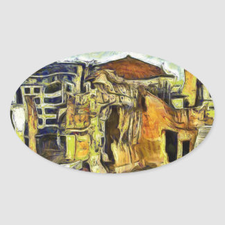 Ancient Ruins in Old Athens Greece Oval Sticker
