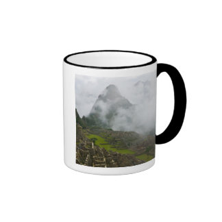 Ancient ruins of Machu Picchu with Andes Coffee Mugs