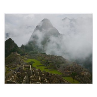 Ancient ruins of Machu Picchu with Andes Poster