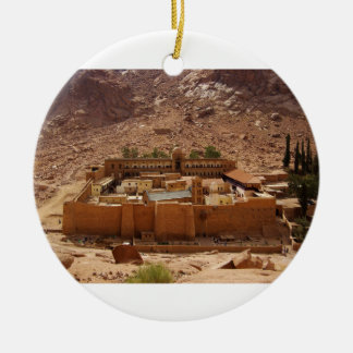 Ancient Saint Catherine's Monastery Sinai Egypt Double-Sided Ceramic Round Christmas Ornament