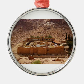 Ancient Saint Catherine's Monastery Sinai Egypt Round Metal Christmas Ornament