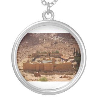 Ancient Saint Catherine's Monastery Sinai Egypt Round Pendant Necklace