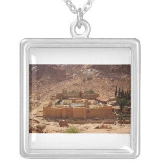 Ancient Saint Catherine's Monastery Sinai Egypt Square Pendant Necklace