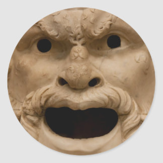 Ancient Satyr mask Classic Round Sticker