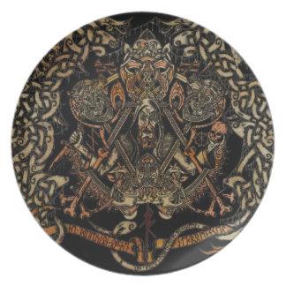 ANCIENT SCANDINAVIAN ART MELAMINE PLATE
