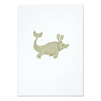 Ancient Sea Monster Drawing Card
