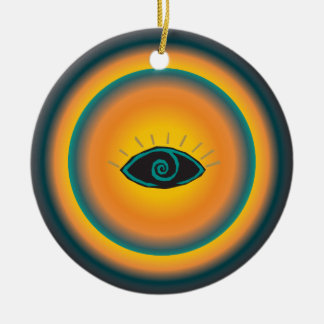 Ancient Seeing Eye Tribal Design Blue Orange Ceramic Ornament