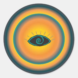 Ancient Seeing Eye Tribal Design Blue Orange Classic Round Sticker