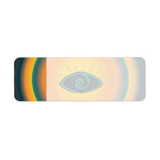 Ancient Seeing Eye Tribal Design Blue Orange Label