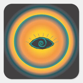Ancient Seeing Eye Tribal Design Blue Orange Square Sticker