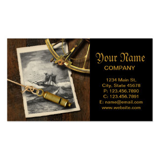 Ancient ship navigation tools nautical business card template