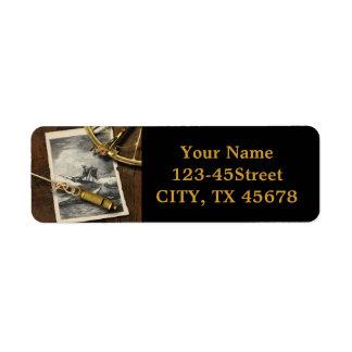Ancient ship navigation tools nautical return address label