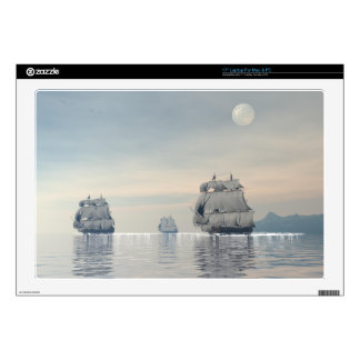 Ancient ships on the ocean laptop decals