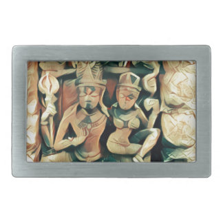 Ancient Shiva and Parvati Rectangular Belt Buckle