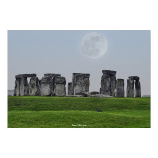 Ancient Site of Stonehenge Standing Stones & Moon Poster